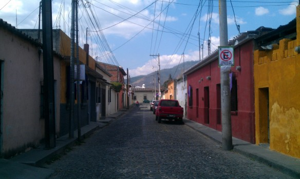 "Continuing down the blue path, on a street called ""San Luquitas"""