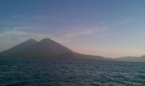 In the foreground we have Volcano Tolimán and Volcano Atitlán behind it